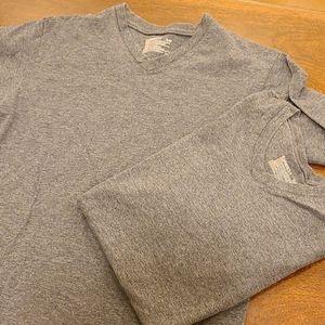 2 Hanes Perfect-T V-Neck T-Shirts